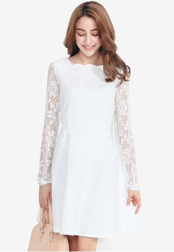YOCO white Lace Dress with Scallop Neck 6CA3FAAC7E02E2GS_1