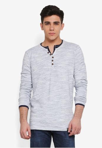 Indicode Jeans 海軍藍色 長袖混色T恤 C3E6BAA1388216GS_1