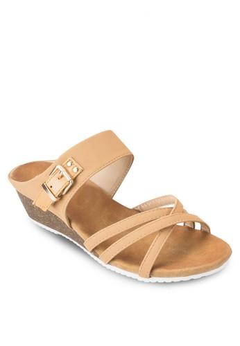esprit hong kong 分店交叉多帶楔型跟涼鞋, 女鞋, 鞋