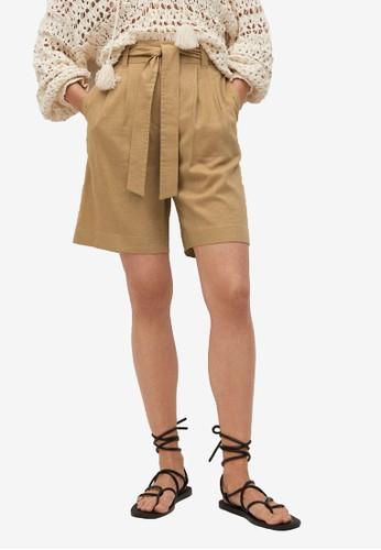 Mango brown Linen Bow Bermuda Shorts 930B3AA48DD02FGS_1