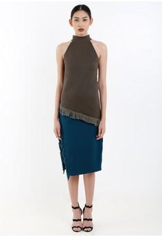 [PRE-ORDER] Two Tone Haltered Shift Dress with Frayed Hem and Side Slit