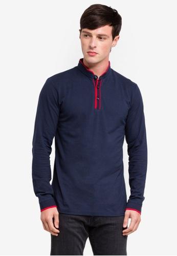 ESPRIT 海軍藍色 Long Sleeve Polo Shirt CAB36AA624D11DGS_1