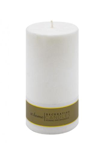 At Home white Jasmine & Magnolia Scented Pillar Candle 2x4 EC3E3HL9C62D83GS_1