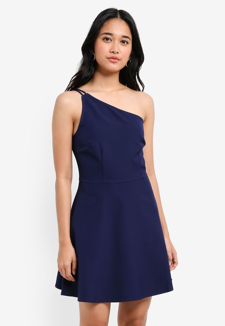 Dress Navy Asymmetric Mini Toga Borrowed Something 6qwpOxA