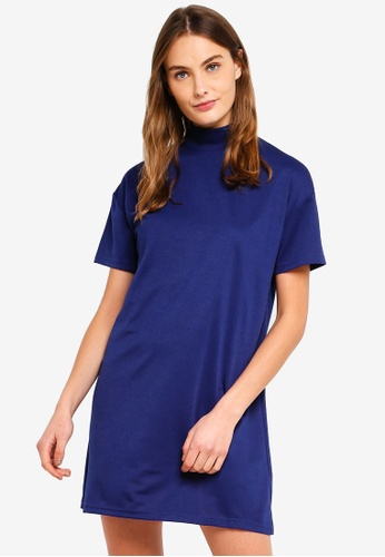 ZALORA BASICS blue Basic Polo Neck T-Shirt Dress F8159AA01B2BA9GS_1