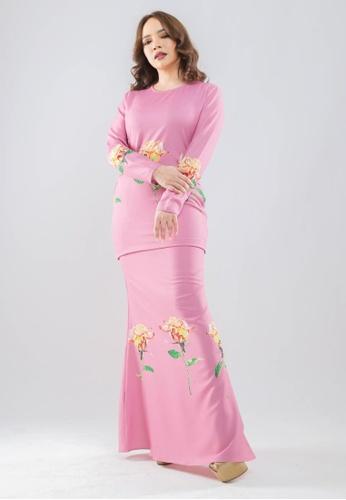 OWLBYND pink Printed Modern Kurung ( Rose Series-Without Swarovski ) 0833EAA3AACD70GS_1