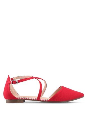 Nose 紅色 雙色繞帶平底鞋 44310SH7B1ADBCGS_1