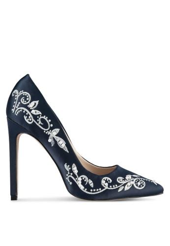 Velvet 海軍藍色 Embroidered Satin High Heels 2BC6BZZDE88E6DGS_1