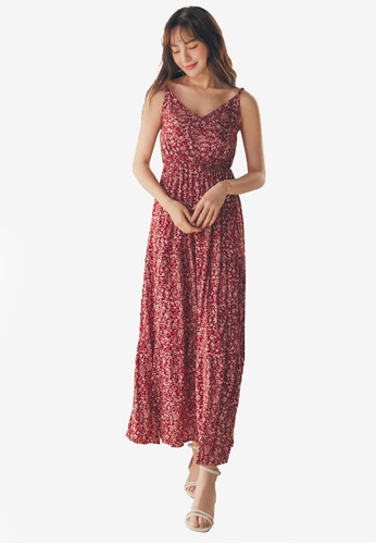 Yoco red Floral Cami Maxi Dress F4582AA581D961GS_1