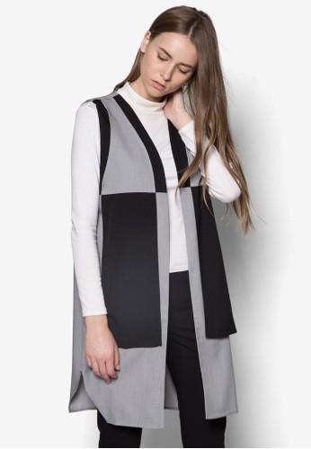 色塊拼接長版開襟外套salon esprit, 服飾, 夾克 & 大衣