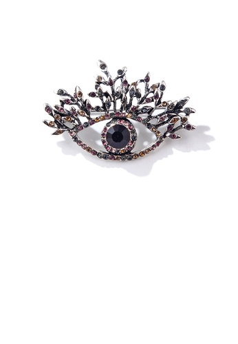 Glamorousky silver Fashion Personality Devil's Eye Brooch with Cubic Zirconia 03048ACE17C378GS_1
