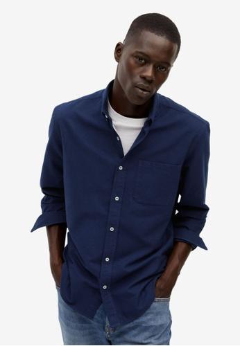 Mango Man blue Regular Fit Cotton Shirt 73CF9AA5FEA17EGS_1