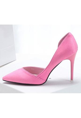 Sunnydaysweety pink Women Pointed Suede  High-heeled Shoes C10141RY SU443SH76LPJHK_1