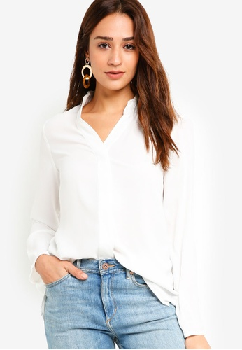 ZALORA white Ruffle Neck Blouse 57021AAF25BB47GS_1