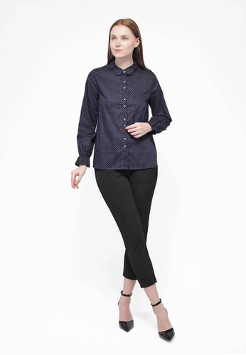 Nicole Exclusives blue Nicole Exclusives - Long Sleeves Shirt Blouse 6A261AA8529613GS_1
