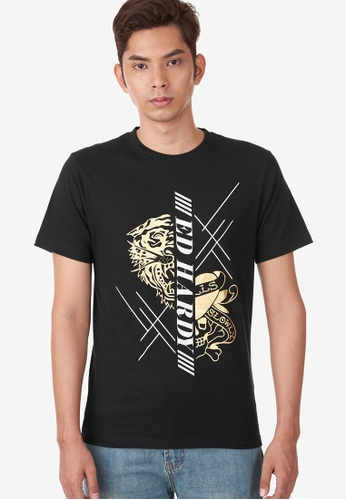 """Ed Hardy black Ed Hardy Men's """"Tiger & Skull """" Round Neck Tee with Gold & Silver Foil Print 1DFF3AAA6E16D9GS_1"""