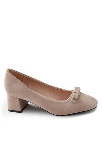 Twenty Eight Shoes 方頭蝴蝶結絨面高踭鞋669-8 CF2BESH2DB4B4CGS_1