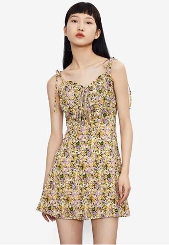 Urban Revivo yellow Floral Dress 9A378AAECA24A1GS_1