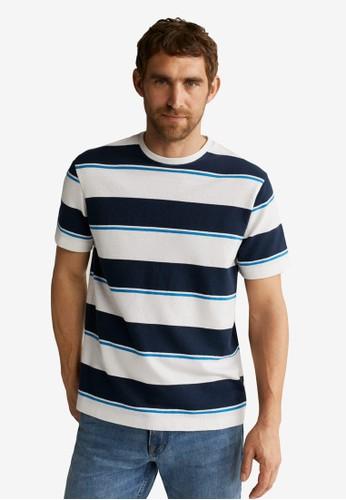 MANGO Man white Striped Knit Cotton T-Shirt 48F78AAE0F2F7EGS_1