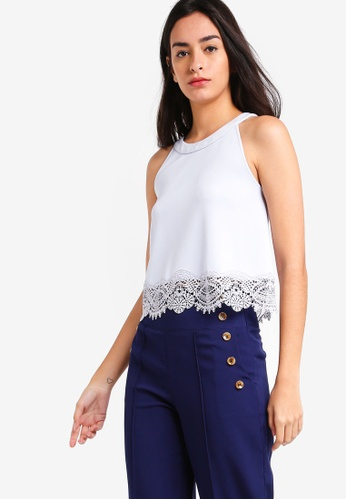 ZALORA blue Cut In Lace Sleeveless Top 2FE62AA7D87451GS_1