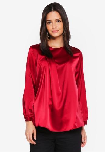 Zalia red Asymmetric Drape Blouse C424AAA5AF55EEGS_1