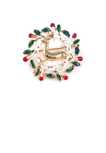 Glamorousky white Fashion and Elegant Plated Gold Christmas Elf Wreath Brooch with Cubic Zirconia 83F77AC7B11D23GS_1