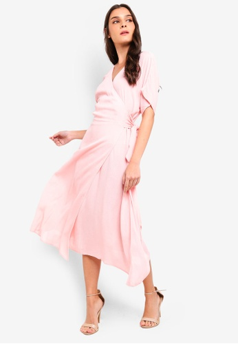 ZALORA pink Kimono Sleeves Wrap Midi Dress 3335EAA8FA450FGS_1