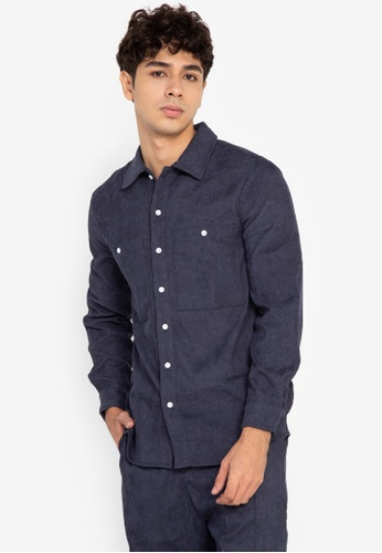 ZALORA BASICS navy Two Pocket Over Shirt F0AB9AA6CD94A2GS_1