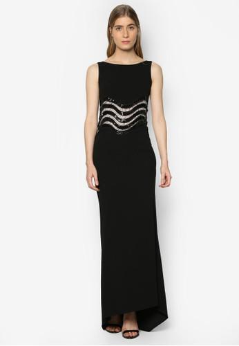 Nitsa 波浪條紋鏤空要是連身長裙、 服飾、 洋裝TFNCNitsa波浪條紋鏤空要是連身長裙最新折價