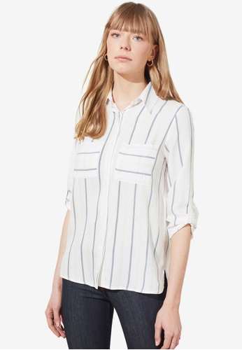 Trendyol white Striped Double Pocket Shirt D0832AABF4ABD7GS_1