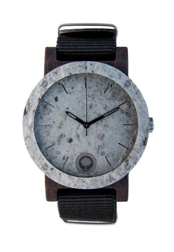 原石系列~雙環板esprit 品牌岩黑檀木原木手工錶, 錶類, 時尚型
