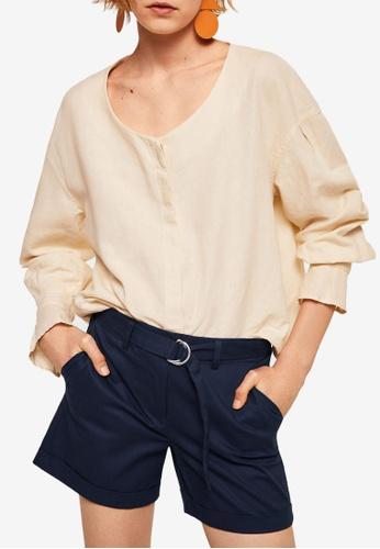 Mango navy Belt Cotton-Blend Shorts 4F35DAA5DA10EDGS_1