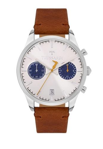 Trussardi brown Trussardi T-Genus Brown Leather Chronograph Men's Watches R2471613004 42EA8ACE578A46GS_1