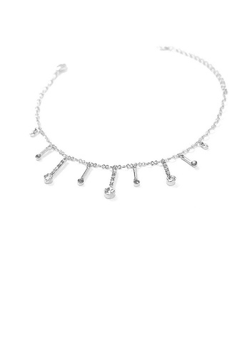 Glamorousky grey Elegant Charms Anklet with Silver and Dark Grey Austrian Element Crystals A09FAAC6F8D70BGS_1