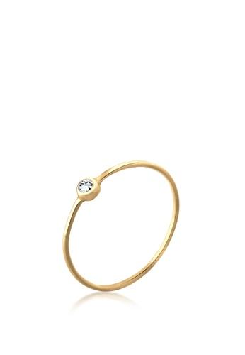 ELLI GERMANY gold Ring Women Solitaire Stacking with Crystal Gold Plated B3CBBAC1B92AC3GS_1