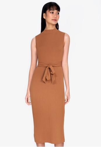ZALORA BASICS brown Turtle-Neck Midi Dress EB839AA5A86744GS_1