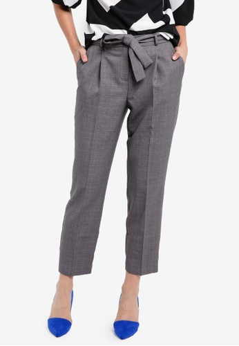 Dorothy Perkins grey Grey Crosshatch Tie Waist Trousers DO816AA0SKTKMY_1