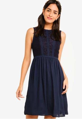 ZALORA navy Bridesmaid Lace Panel Fit & Flare Dress B4DD0AA86E8CD3GS_1
