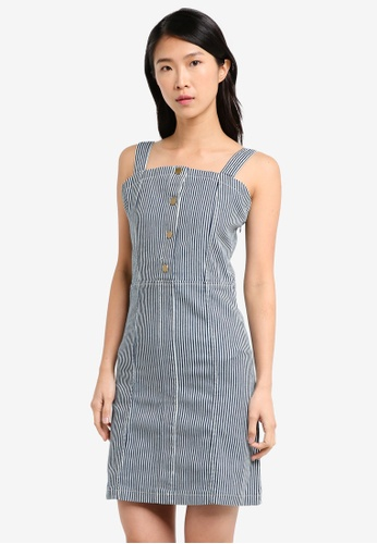 ZALORA navy Buttoned Down Pinafore dress F3325AAF418A19GS_1
