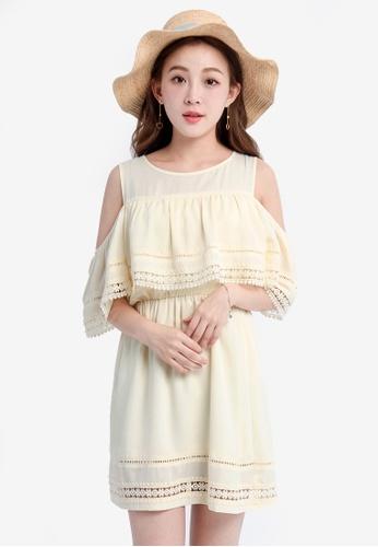 YOCO yellow Lace Cutout Dress YO696AA0SAHDMY_1