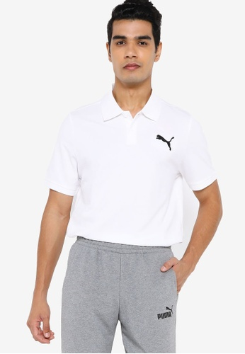 PUMA white Essentials Pique Men's Polo Shirt 007B6AAD672273GS_1