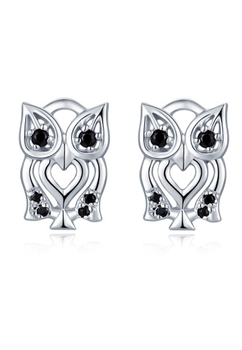 MBLife silver 925 Sterling Silver Black CZ Owl Stud Earrings 2849FAC5B8ABBCGS_1