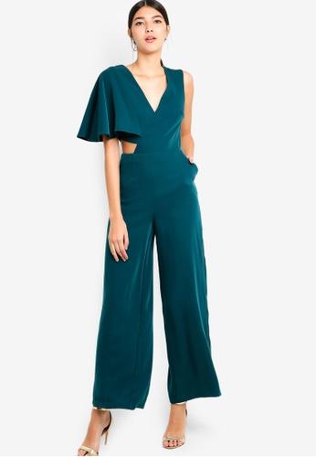 Lavish Alice green One Sleeve Cutout Wide Leg Jumpsuit 6AFDDAAB783849GS_1
