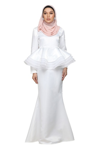 Diore peplum kurung from ARCO in White