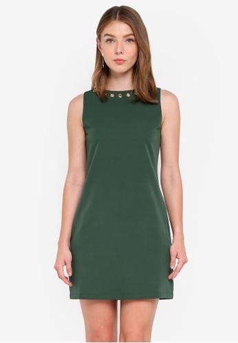 ZALORA green Metal Eyelet Shift Dress A3BB3AAB4CD055GS_1