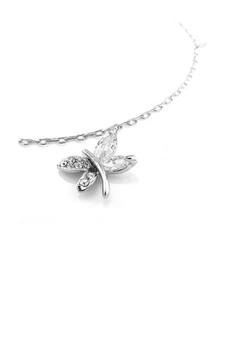 Glamorousky silver Elegant Dragonfly Anklet with Silver Austrian Element Crystals DAEF2AC82F614BGS_1