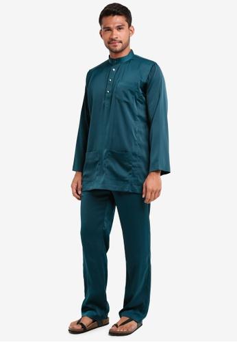 Lubna green Matte Satin Baju Melayu Cekak Musang 28DEDAA8B3779BGS_1