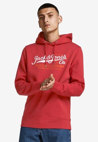 JACK & JONES red Blubooster Sweat Hoodie 5C742AA7D5CA39GS_1