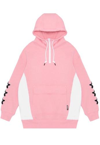 Mini cream pink Contrast quarter zip hoodie 81648AAB28ABDDGS_1