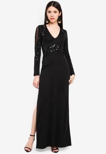 Shop Lipsy Black Long Sleeve Sequin Maxi Dress Online On Zalora